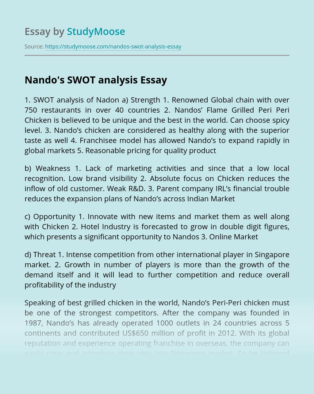 Nando's SWOT analysis