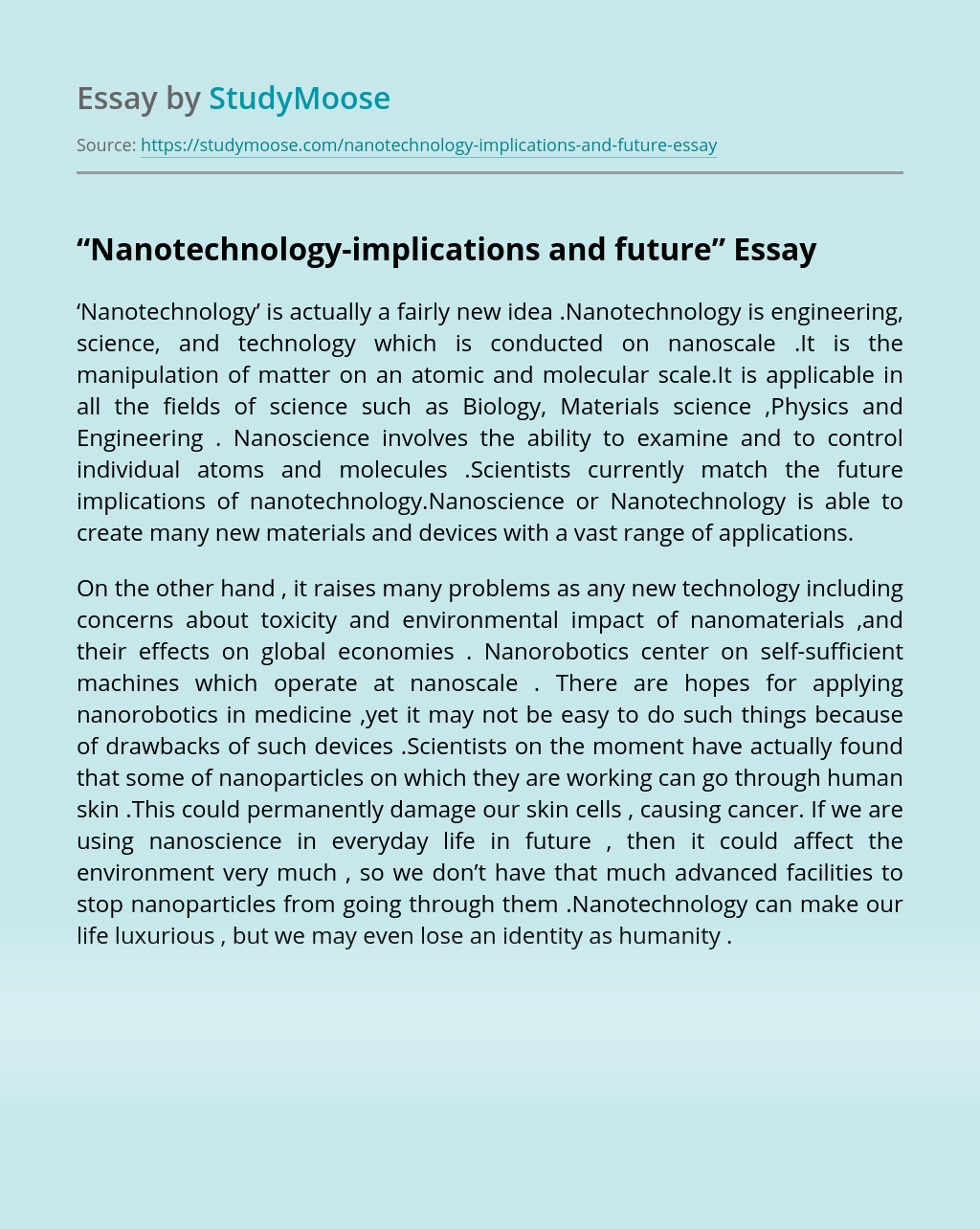 """Nanotechnology-implications and future"""