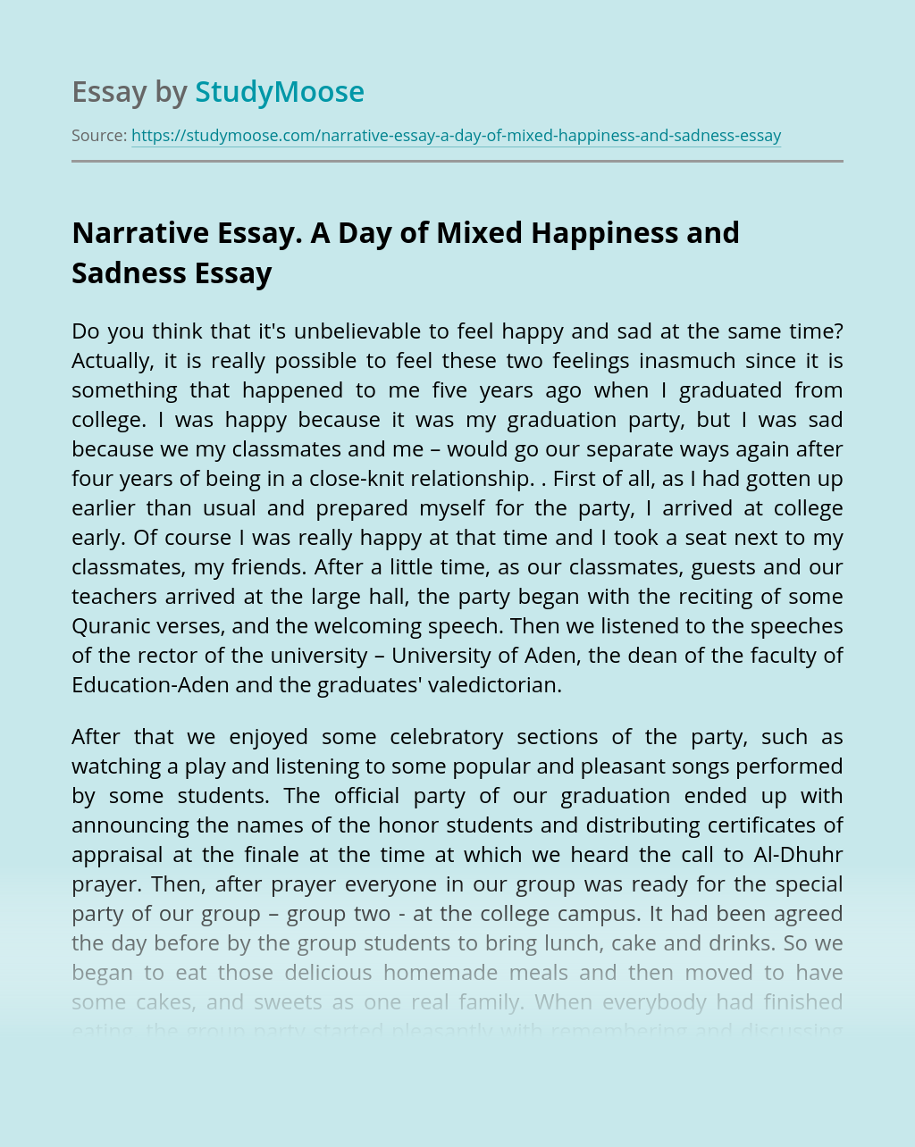 Narrative Essay. A Day of Mixed Happiness and Sadness