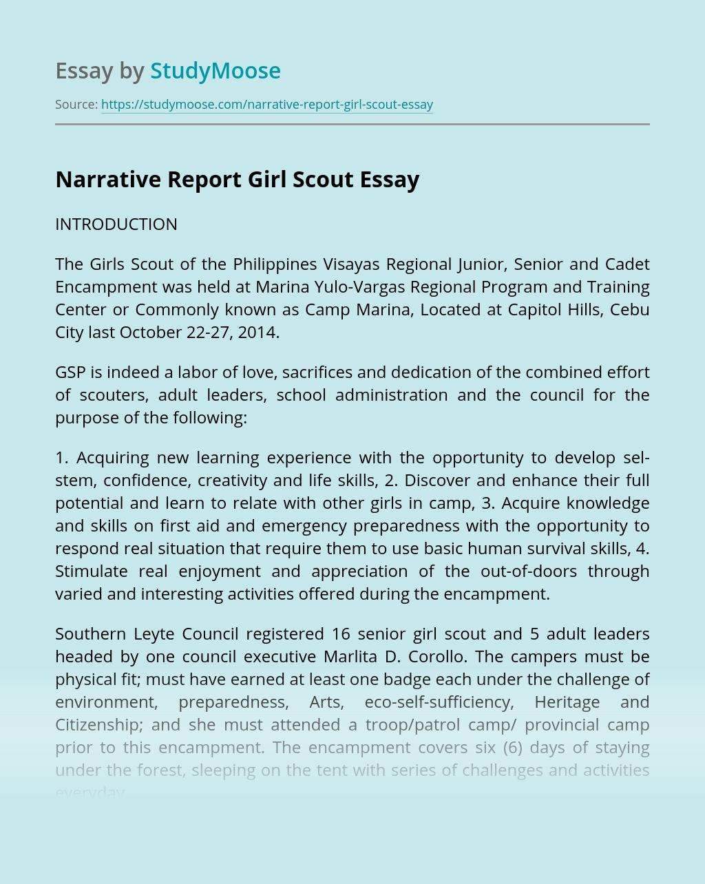 Narrative Report Girl Scout