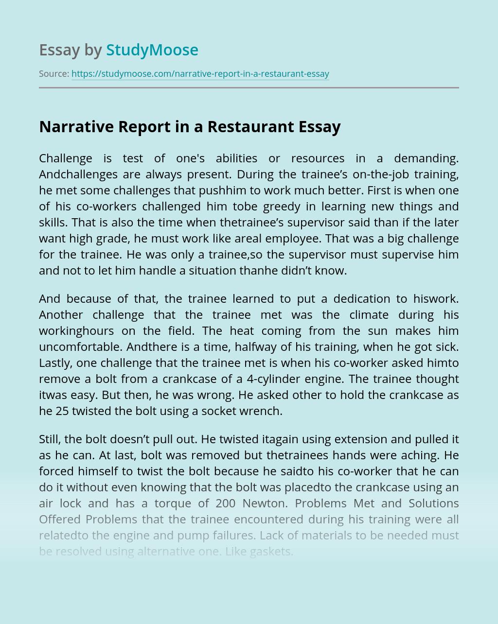 Narrative Report in a Restaurant