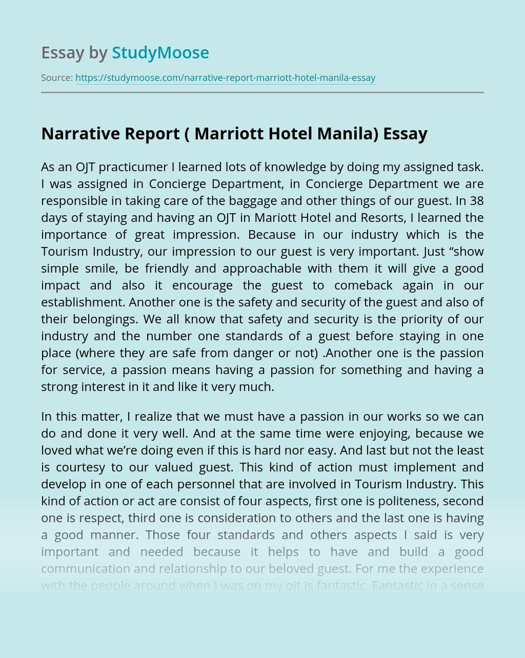 Narrative Report ( Marriott Hotel Manila)