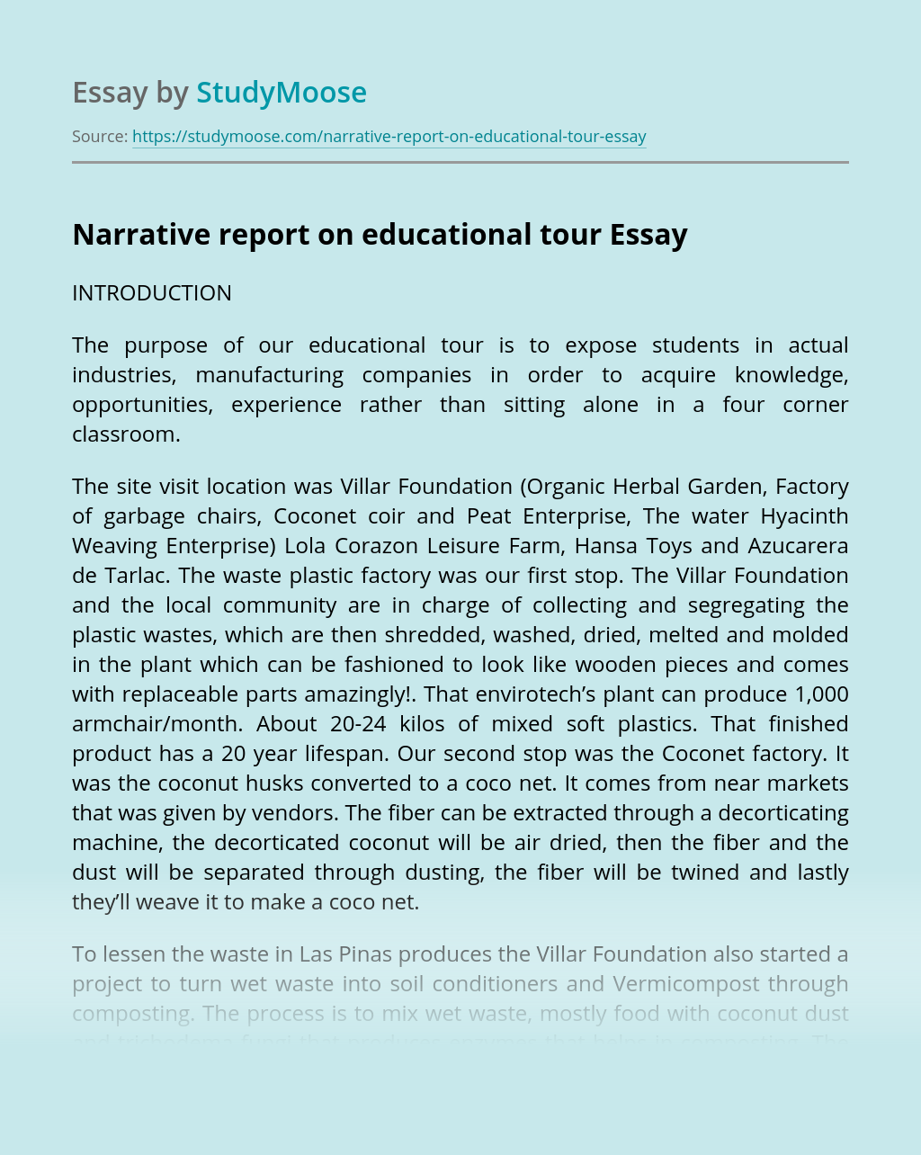 Narrative report on educational tour