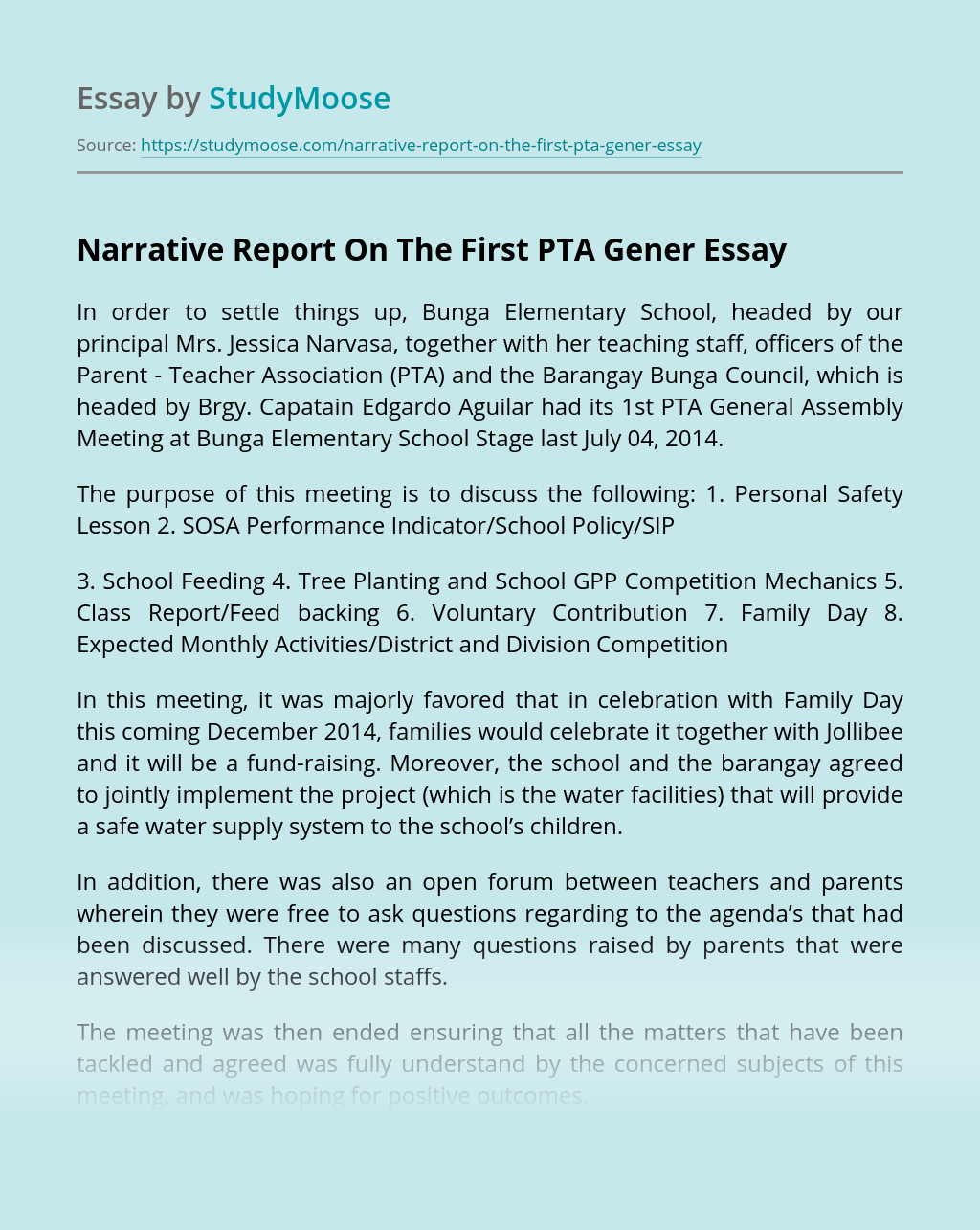 Narrative Report On The First PTA Gener