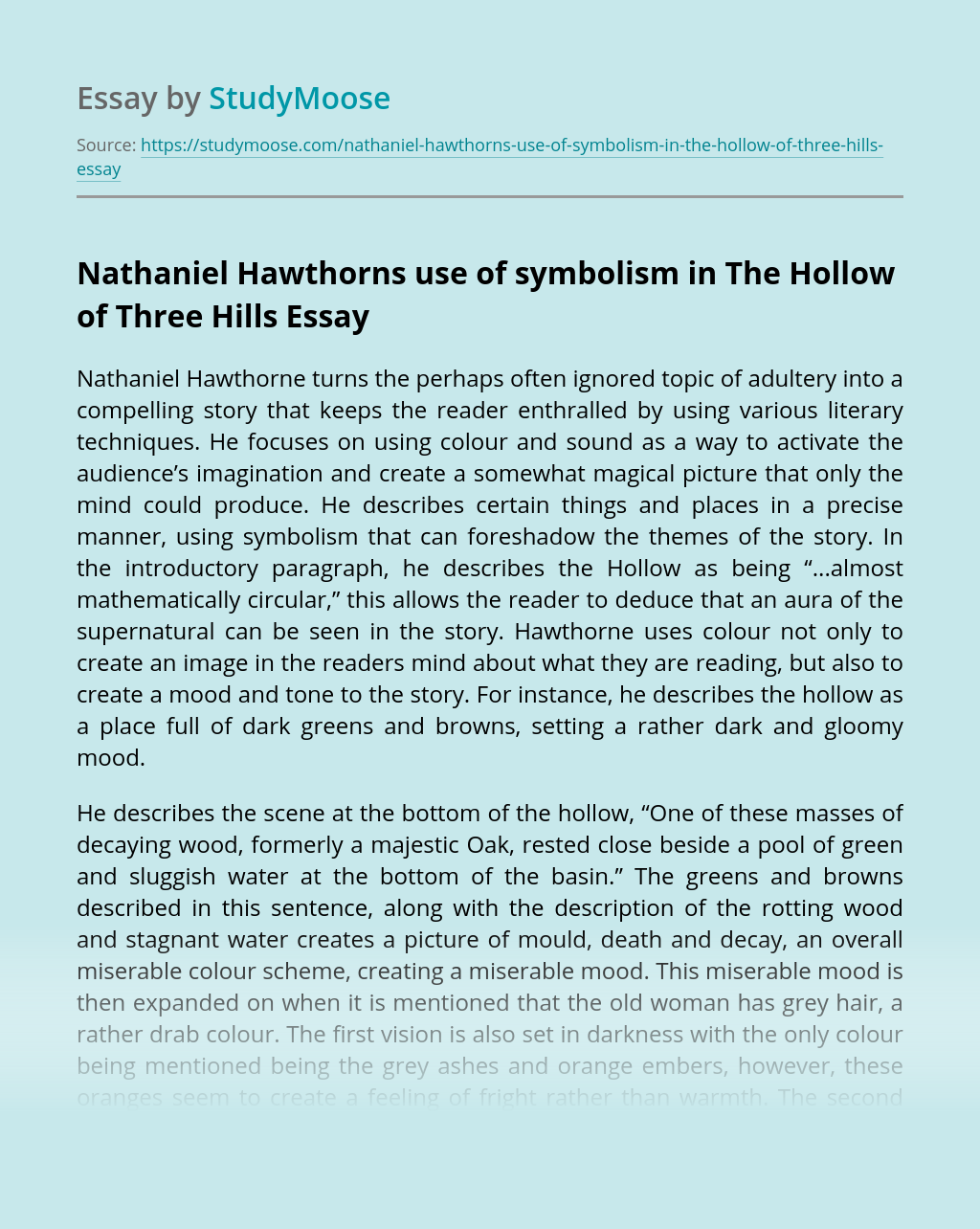 Nathaniel Hawthorns use of symbolism in The Hollow of Three Hills