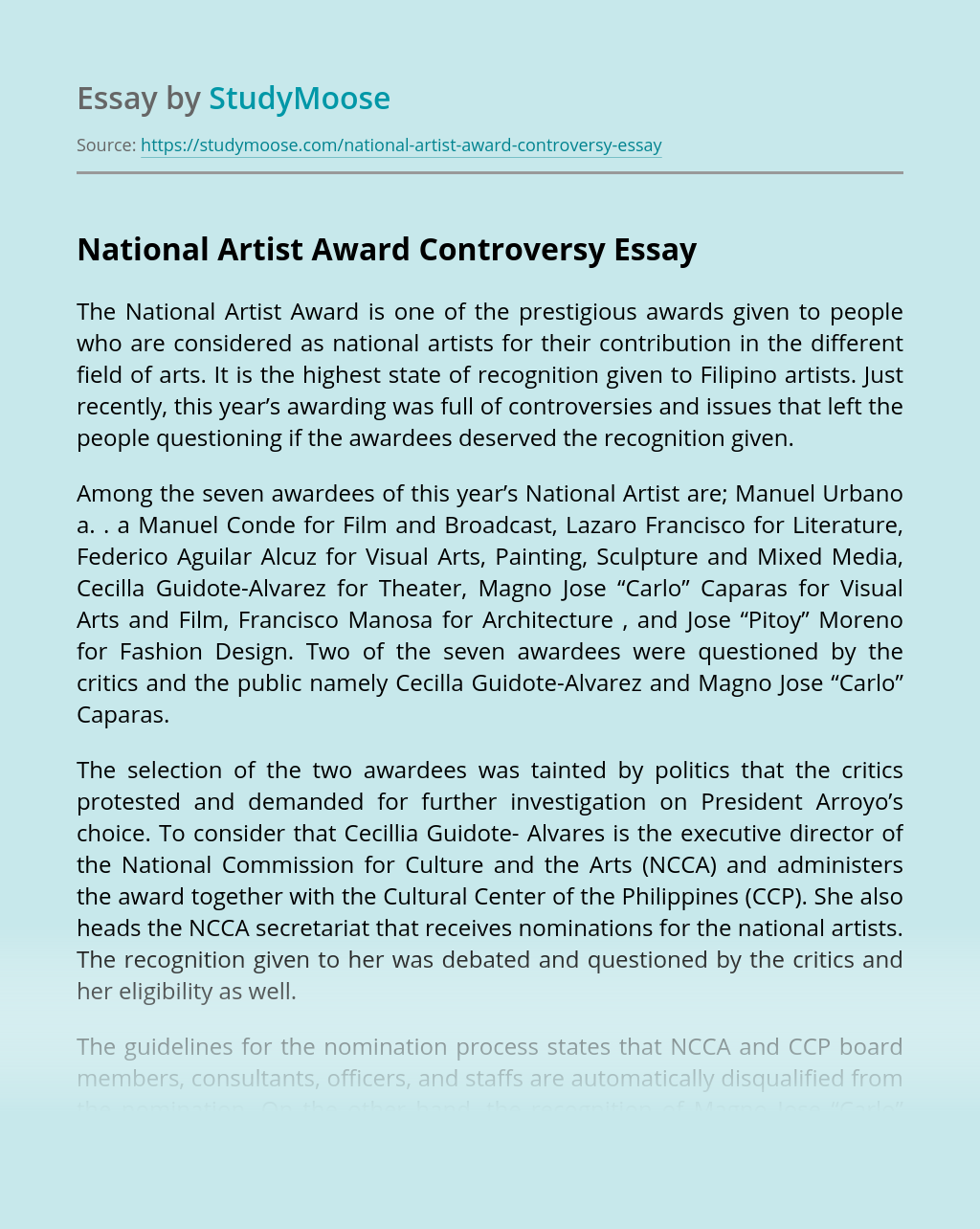National Artist Award Controversy Free Essay Example