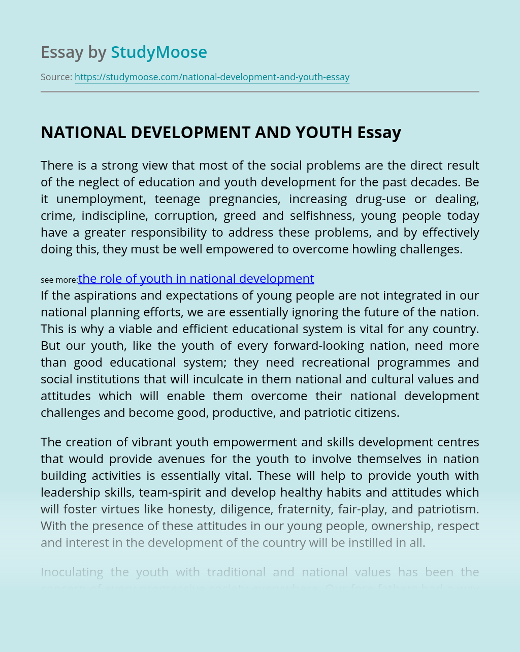 NATIONAL DEVELOPMENT AND YOUTH