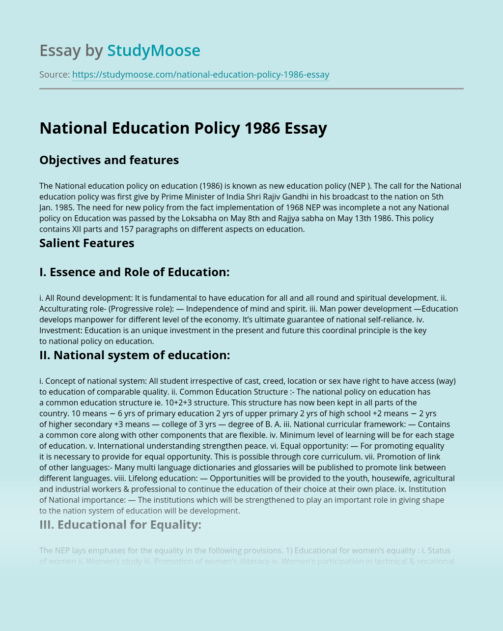 National Education Policy 1986