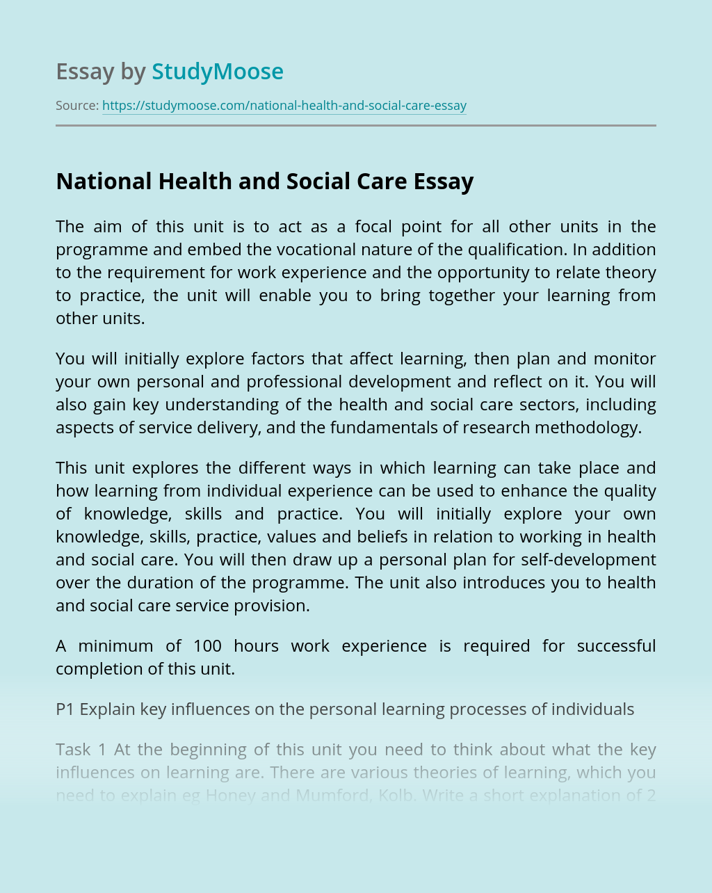 National Health and Social Care