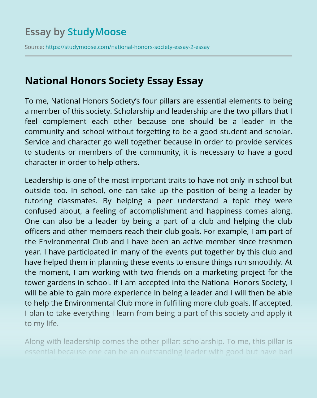 National Honors Society Essay
