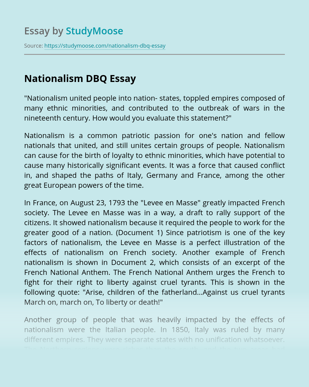 Nationalism DBQ