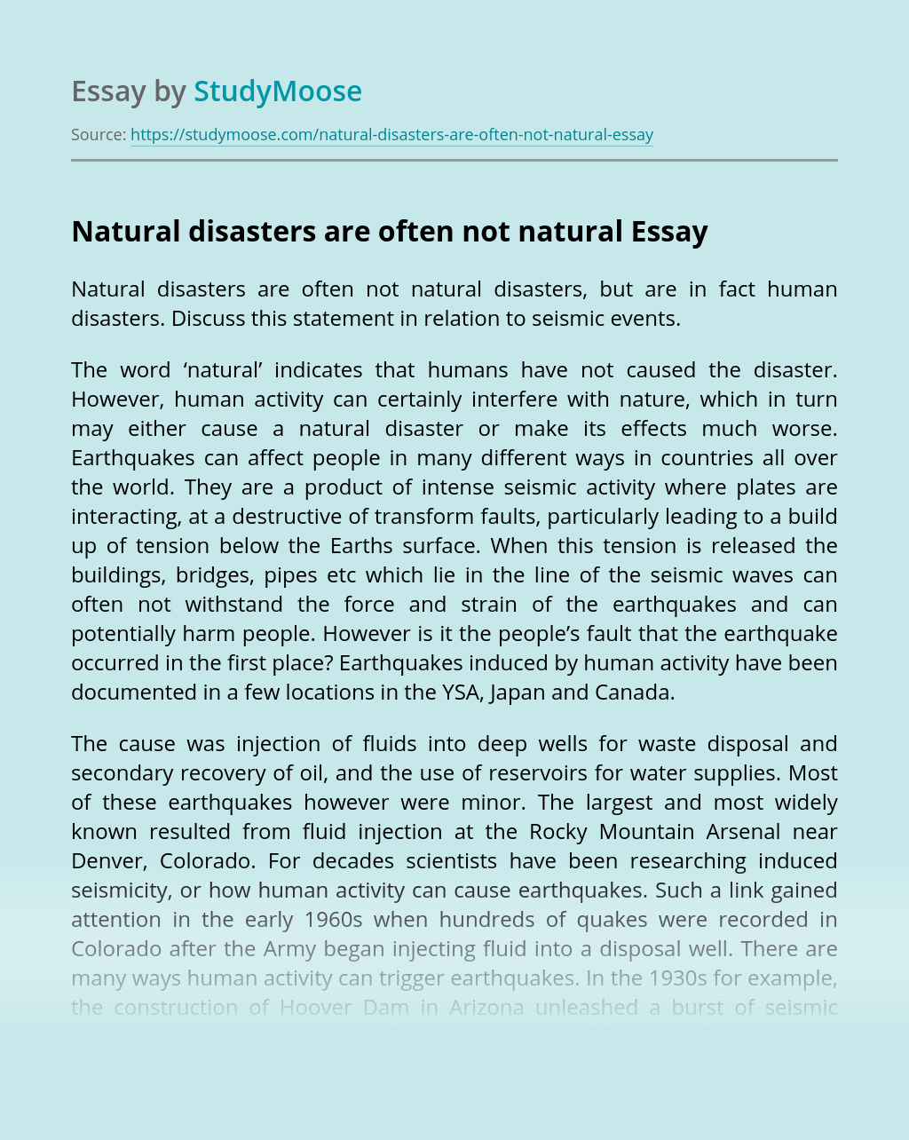 Natural disasters are often not natural