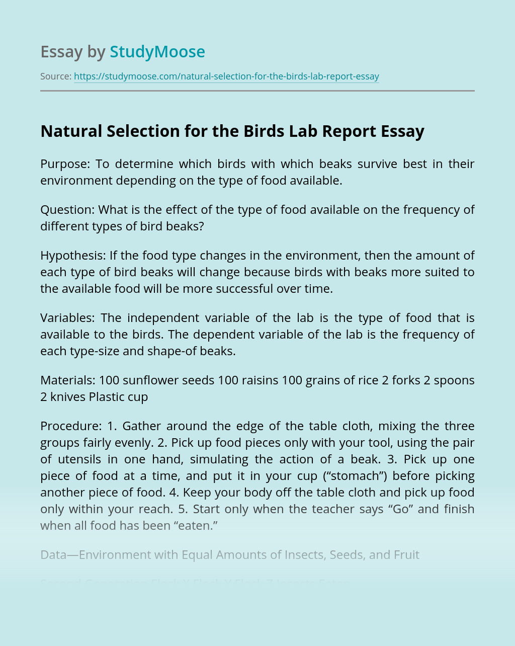 Natural Selection for the Birds Lab Report