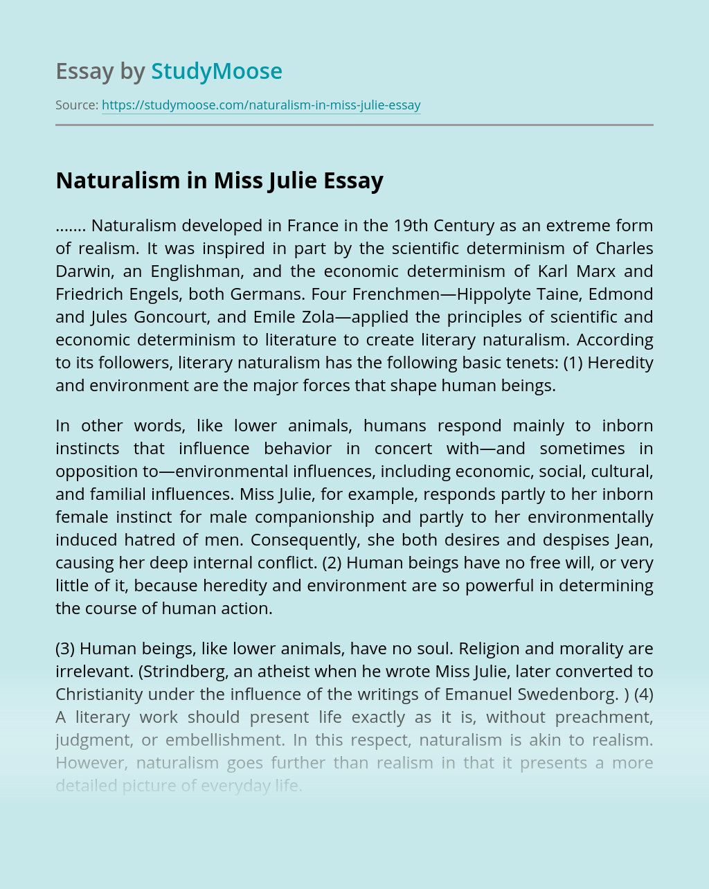 Naturalism in Miss Julie