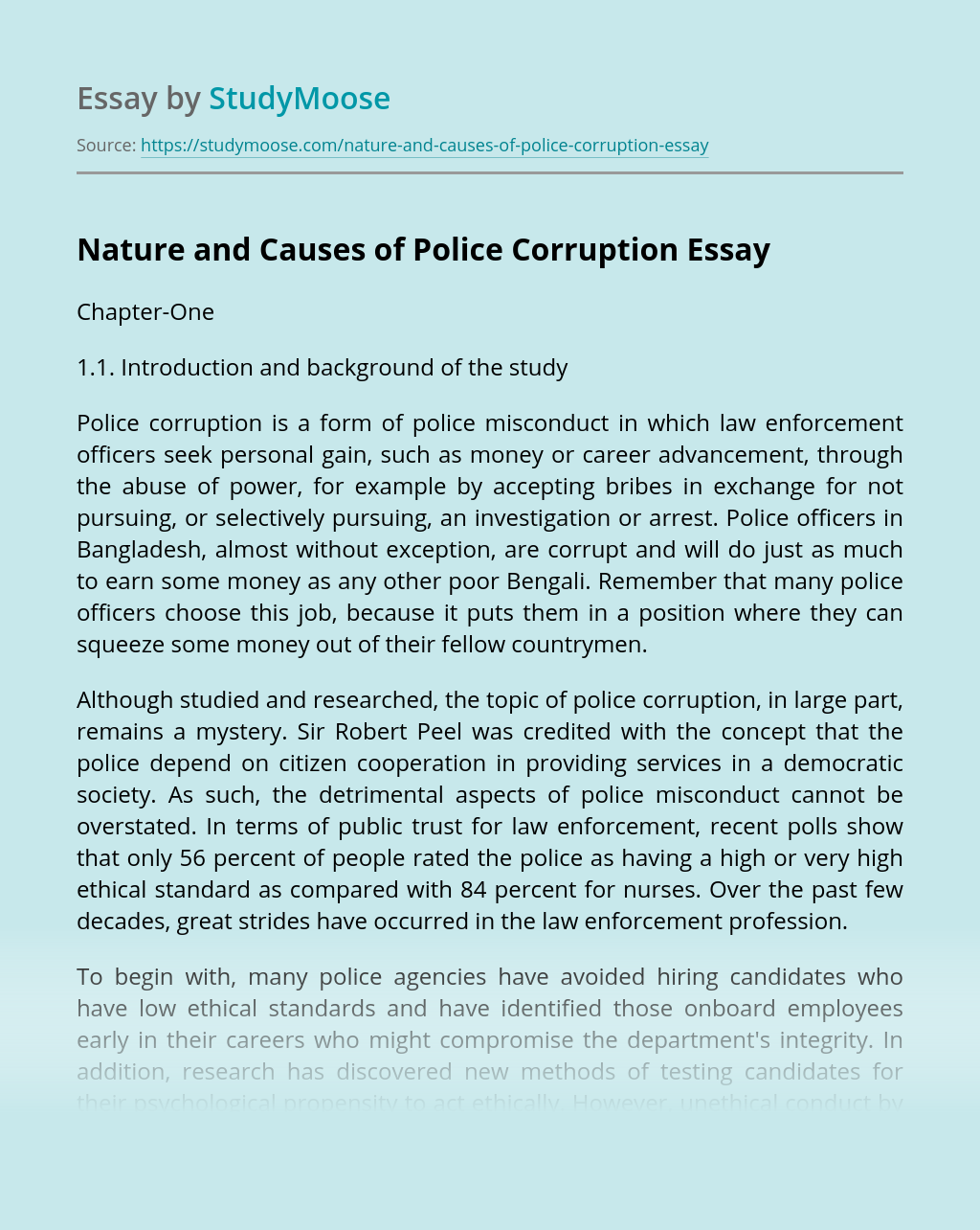 Nature and Causes of Police Corruption