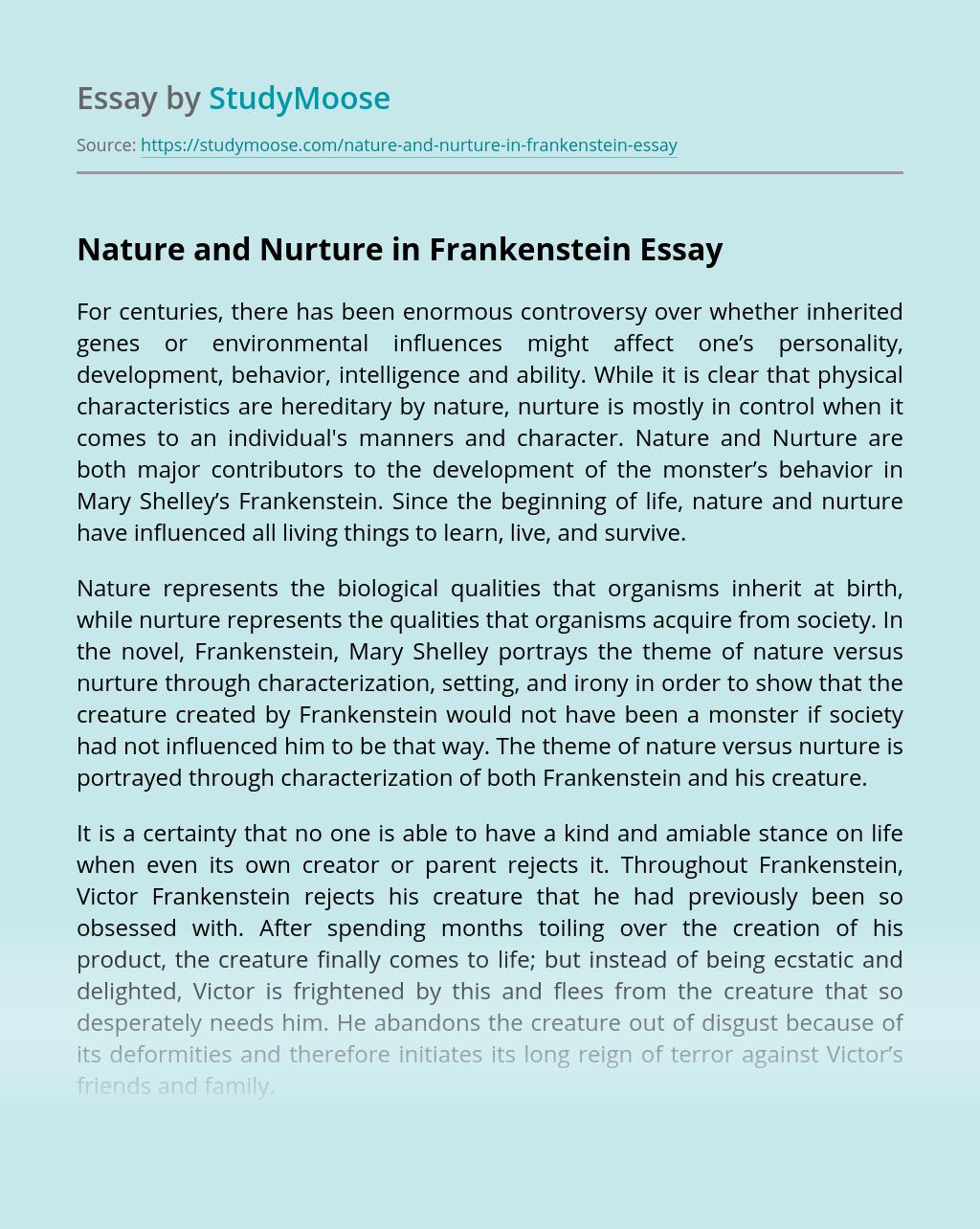 Nature and Nurture in Frankenstein
