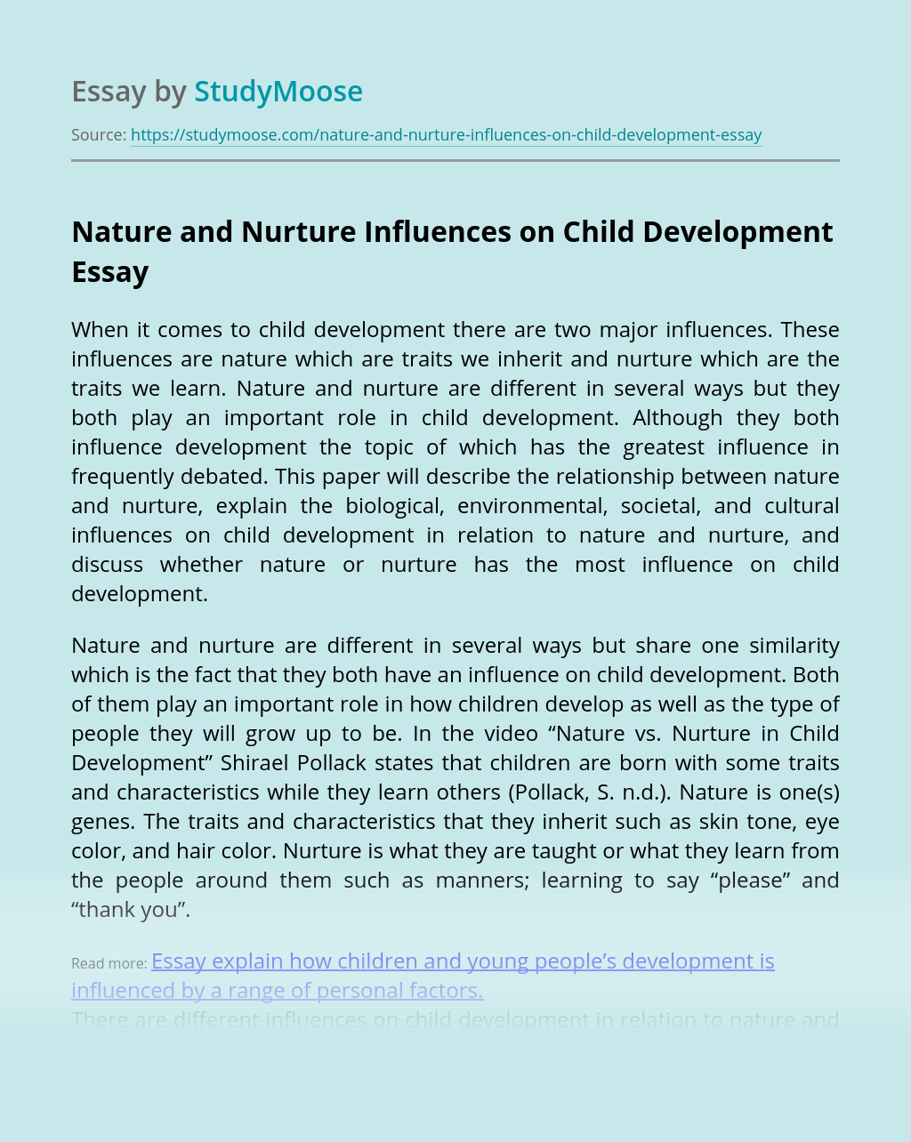 Nature and Nurture Influences on Child Development