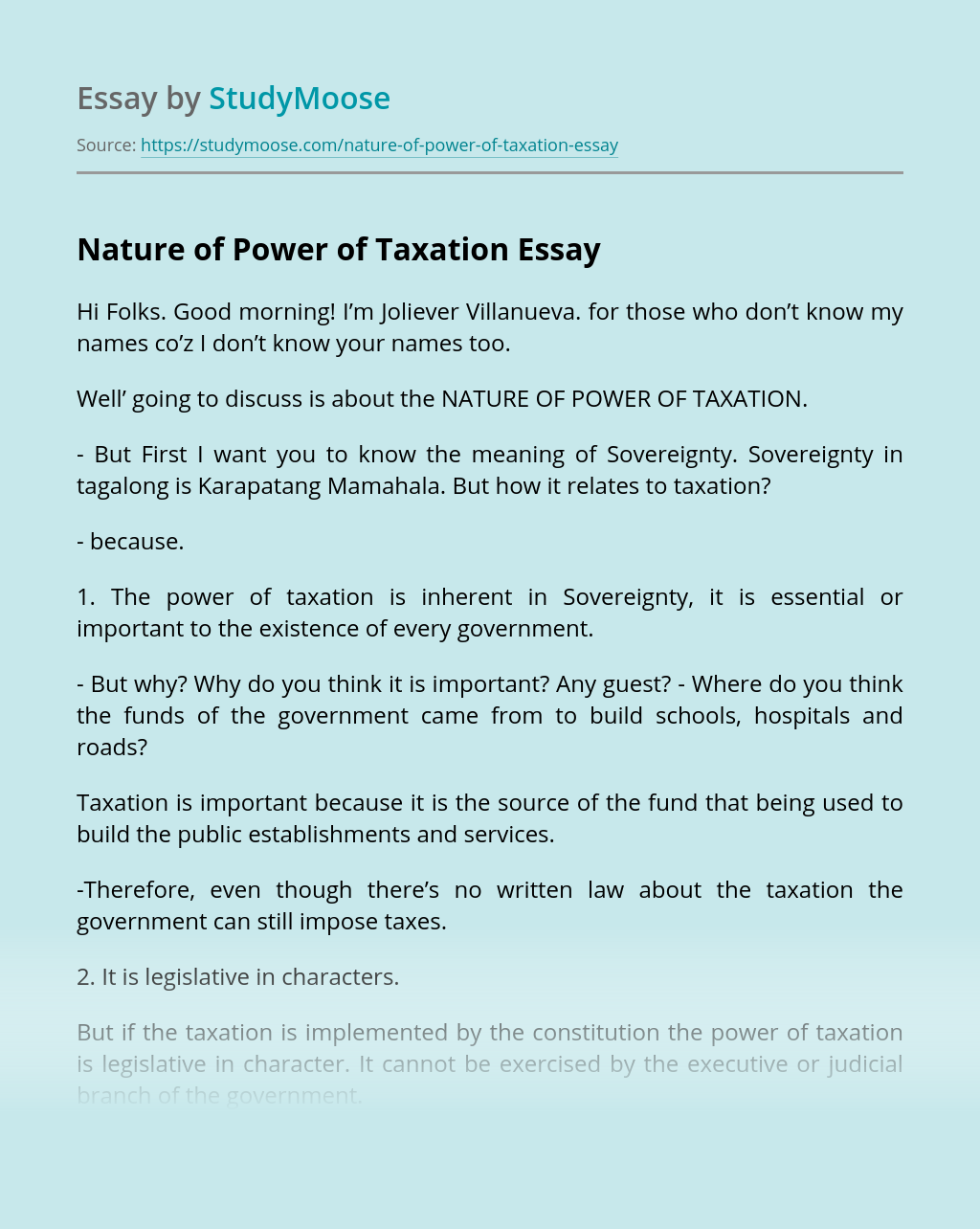 Nature of Power of Taxation