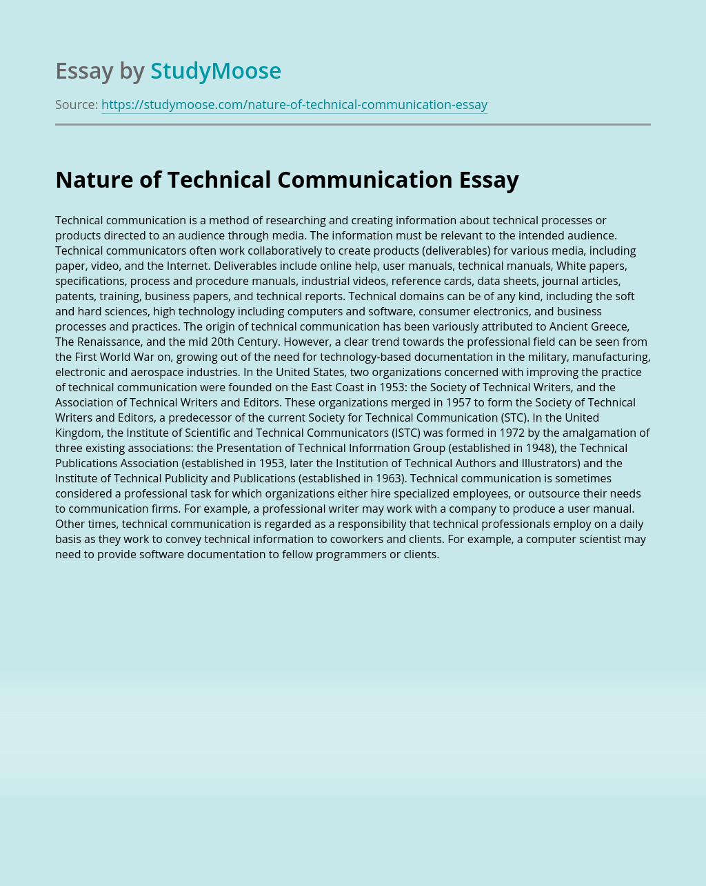 Nature of Technical Communication