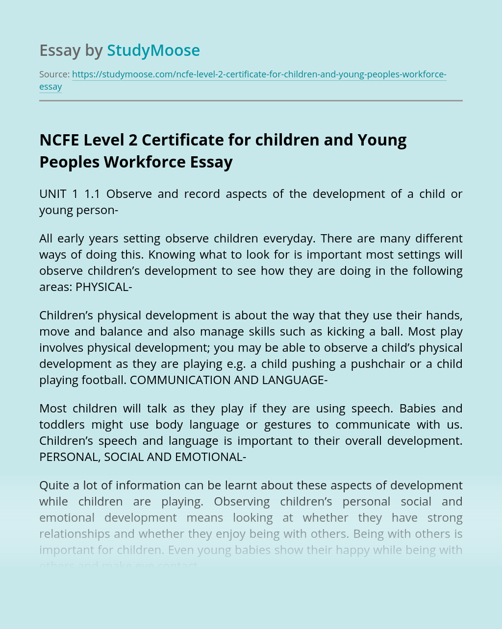 NCFE Level 2 Certificate for children and Young Peoples Workforce