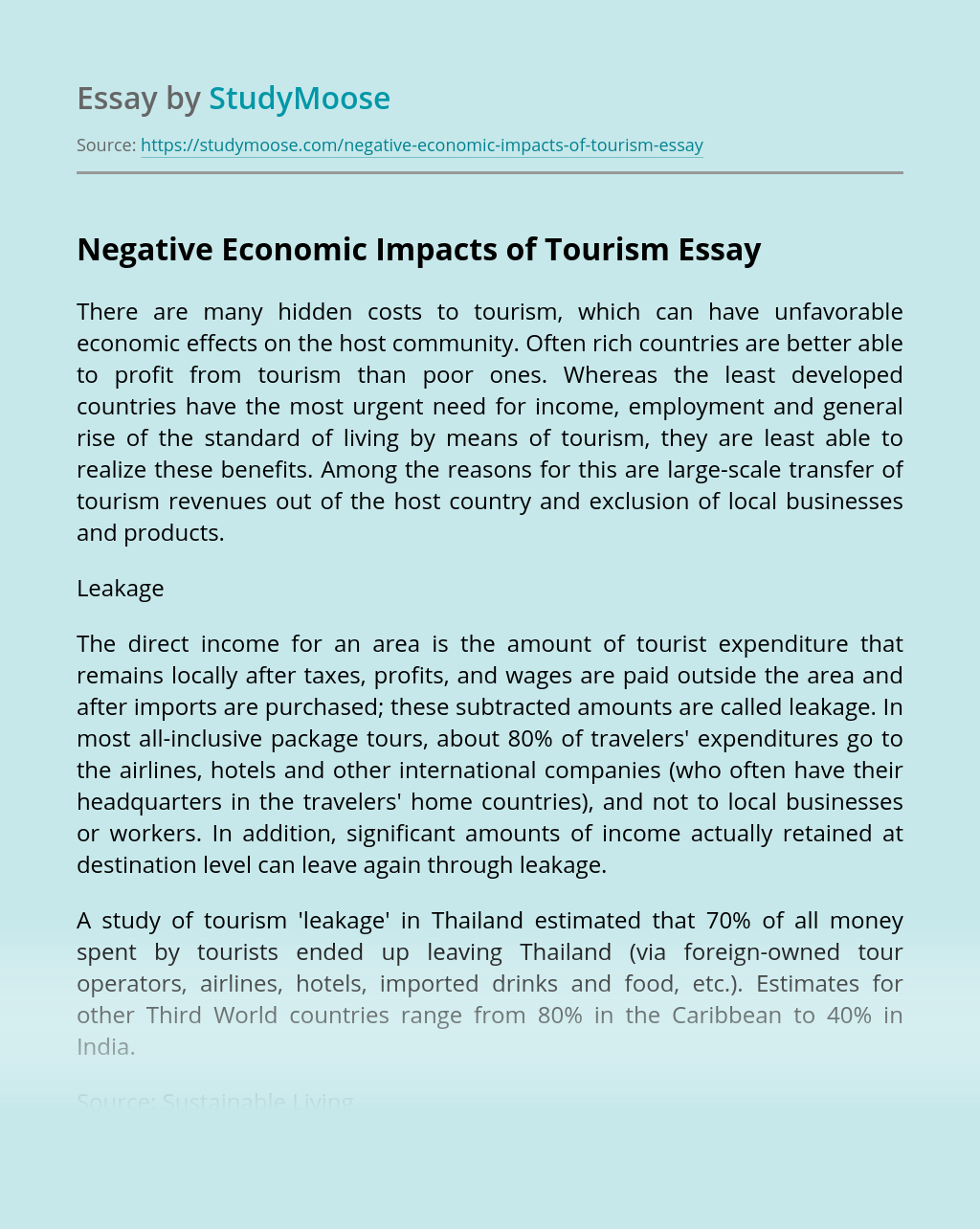 Negative Economic Impacts of Tourism