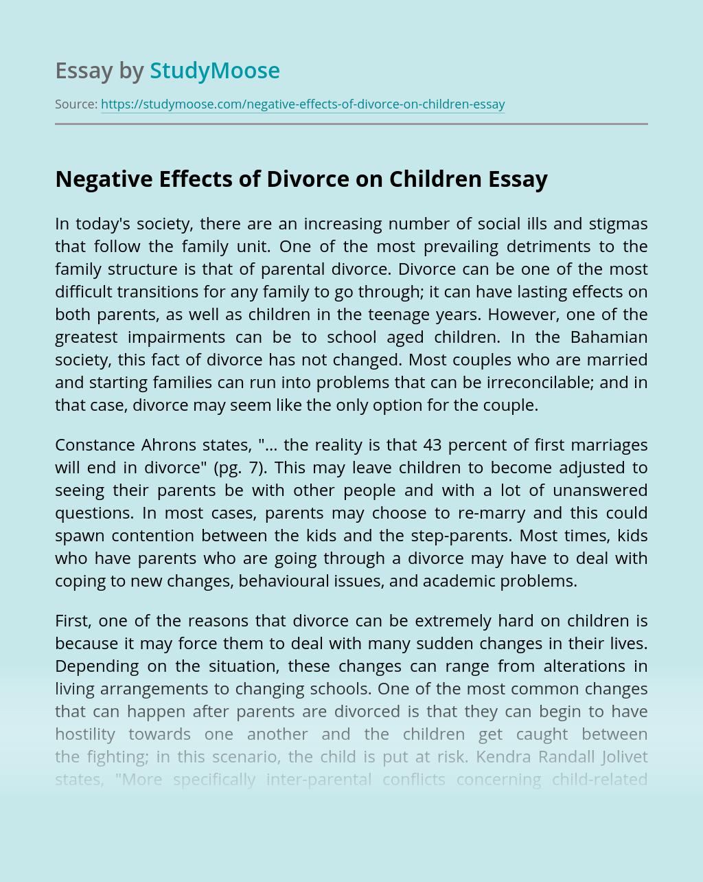 Divorce effects on children essay