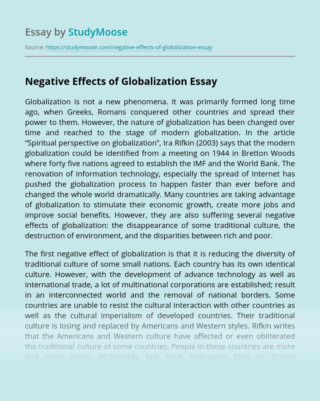 Negative Effects of Globalization