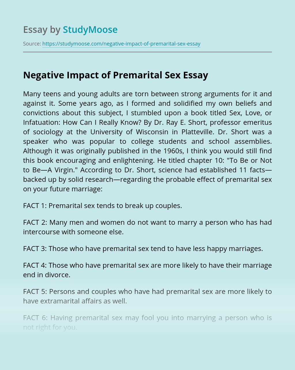 Negative Impact of Premarital Sex