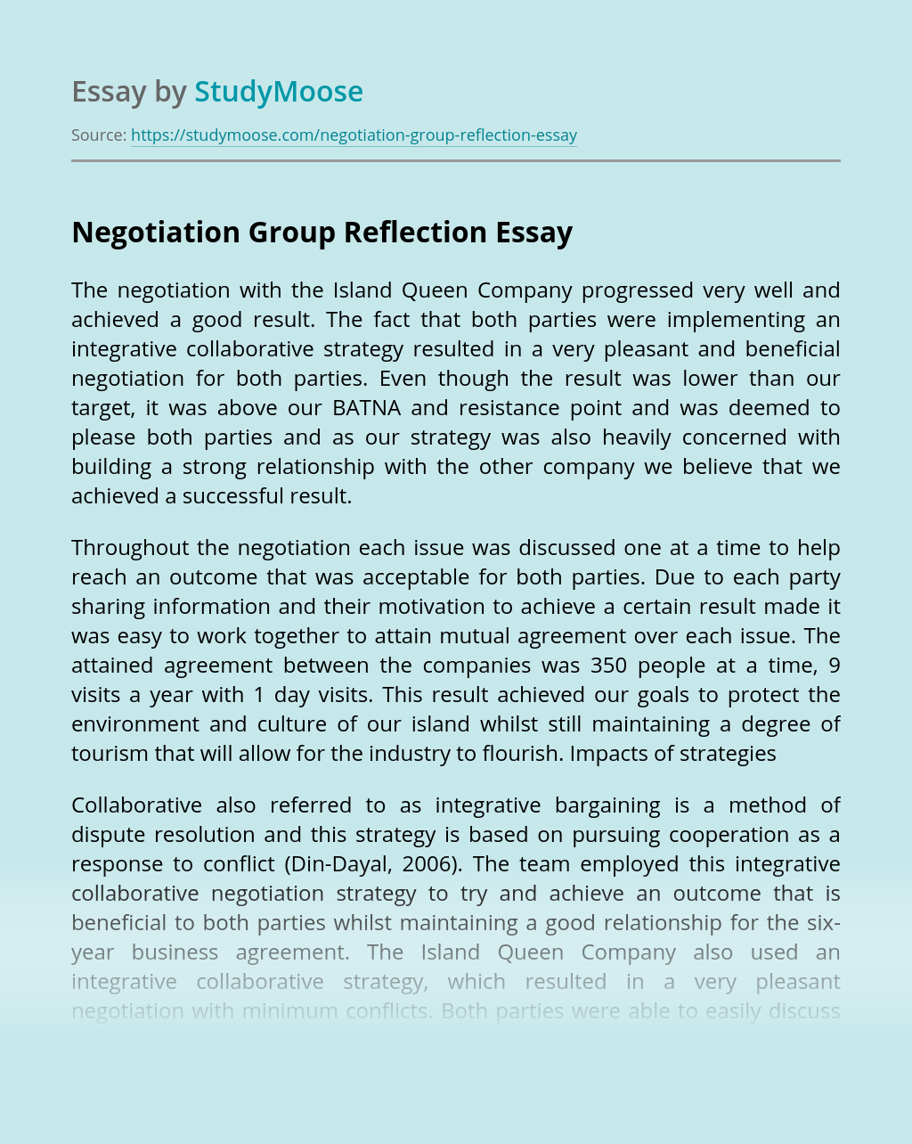 Negotiation Group Reflection