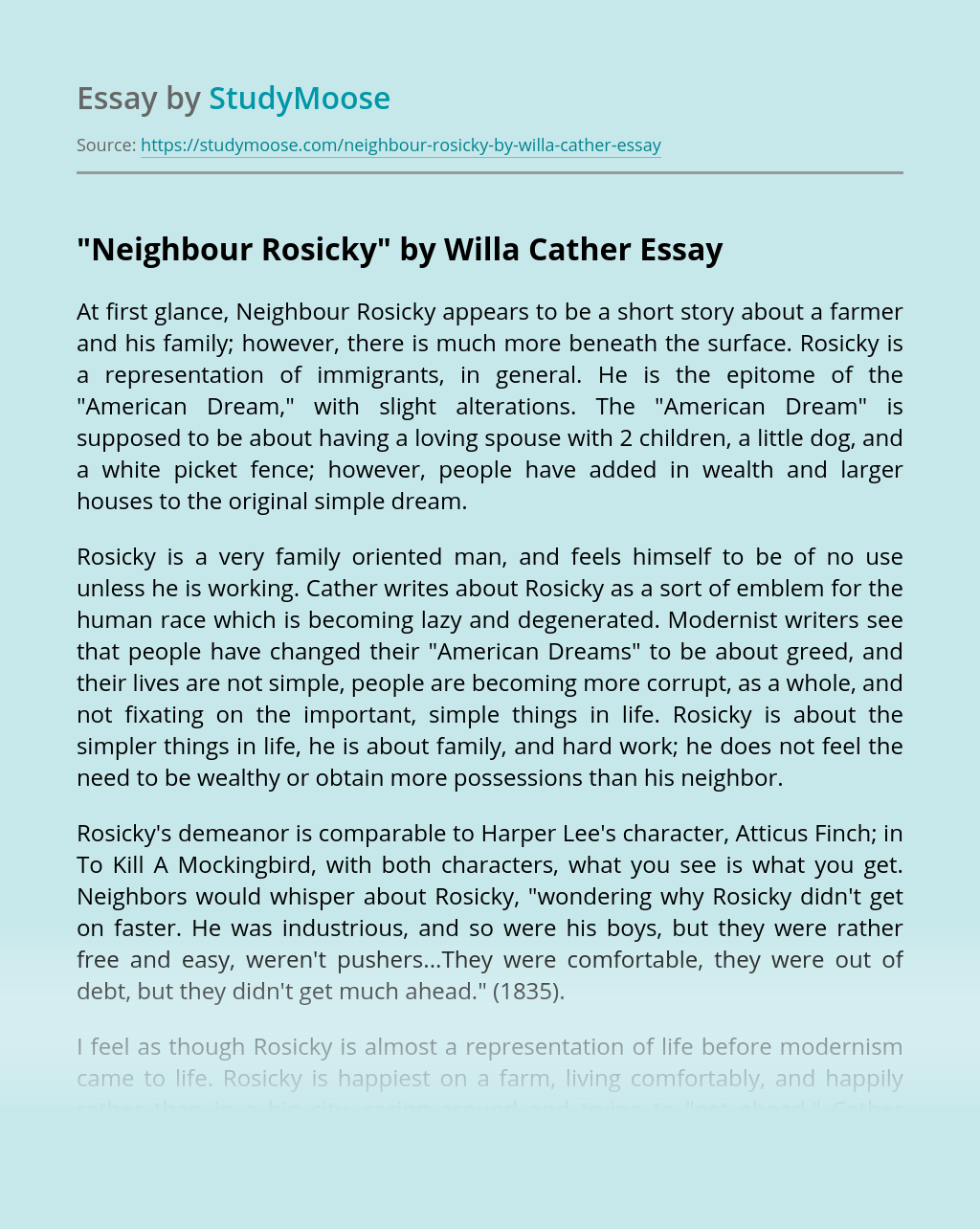 """Neighbour Rosicky"" by Willa Cather"
