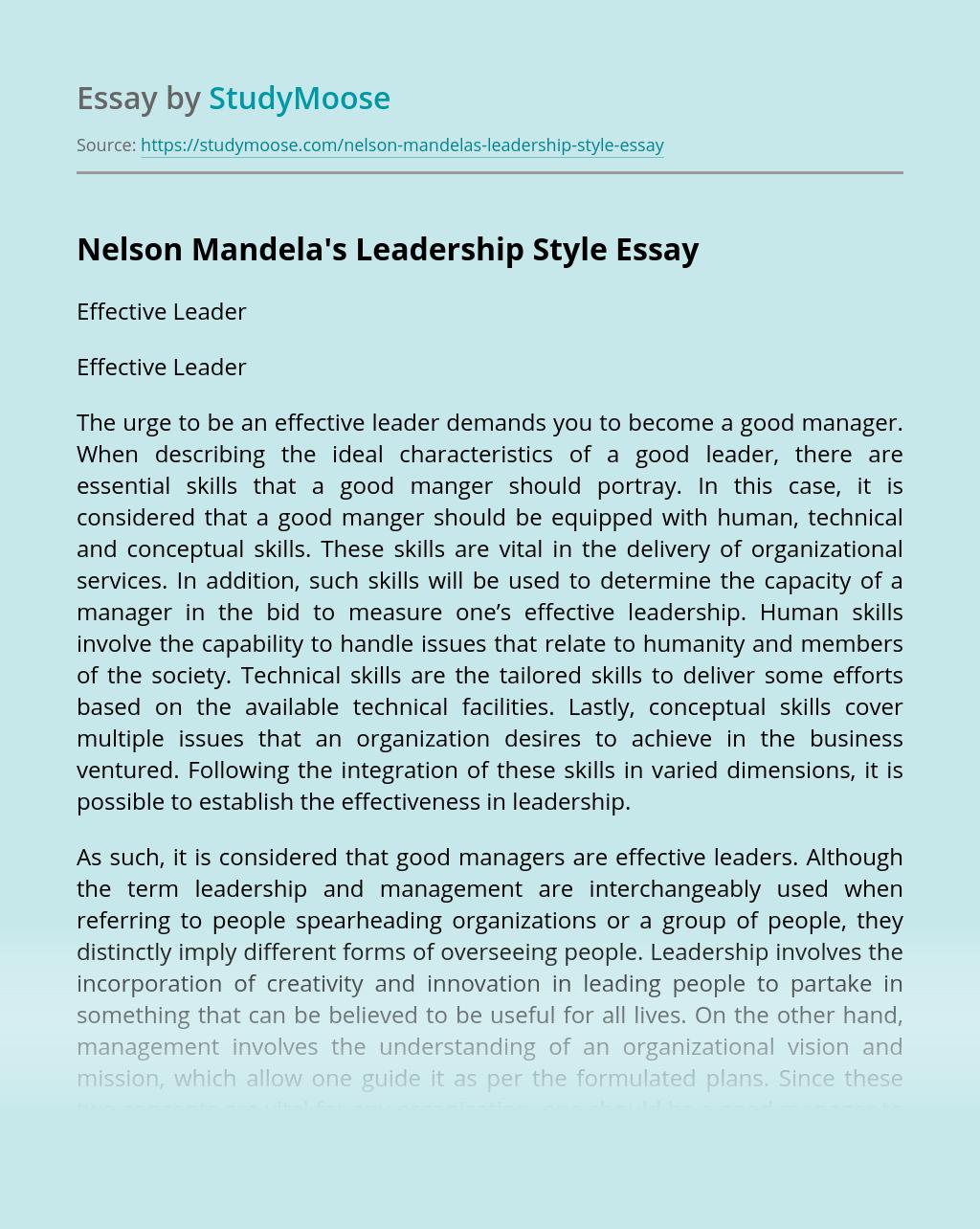 Nelson Mandela's Leadership Style