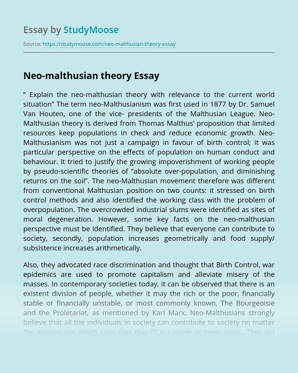 Neo-malthusian theory