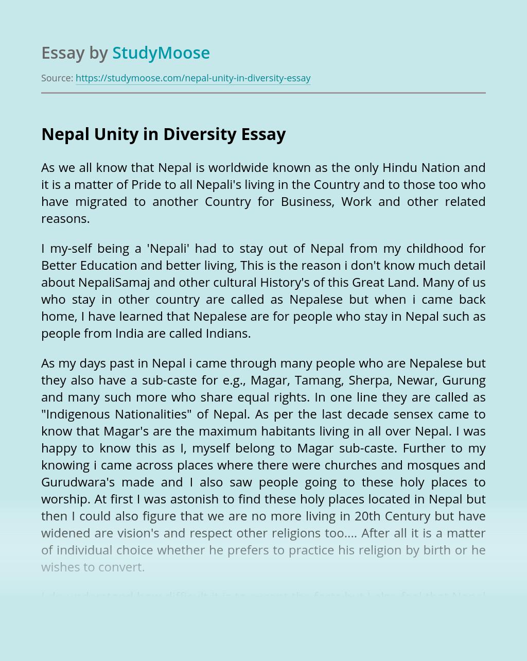Nepal Unity in Diversity
