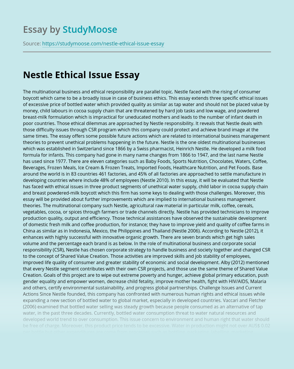 Nestle Ethical Issue