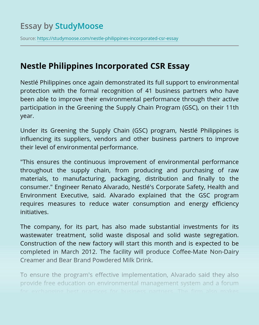 Nestle Philippines Incorporated CSR