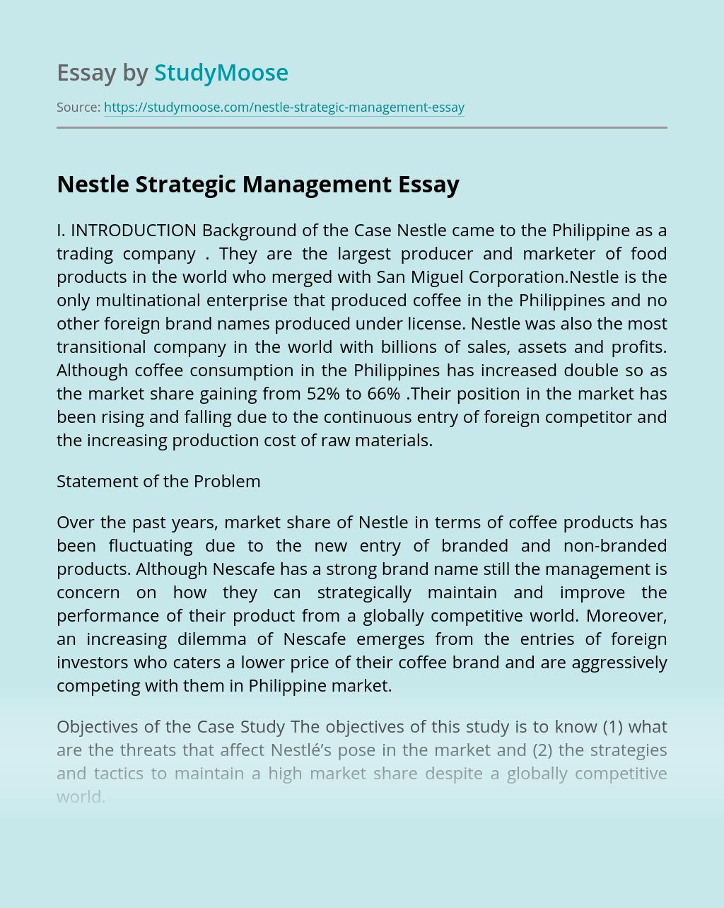 Nestle Strategic Management