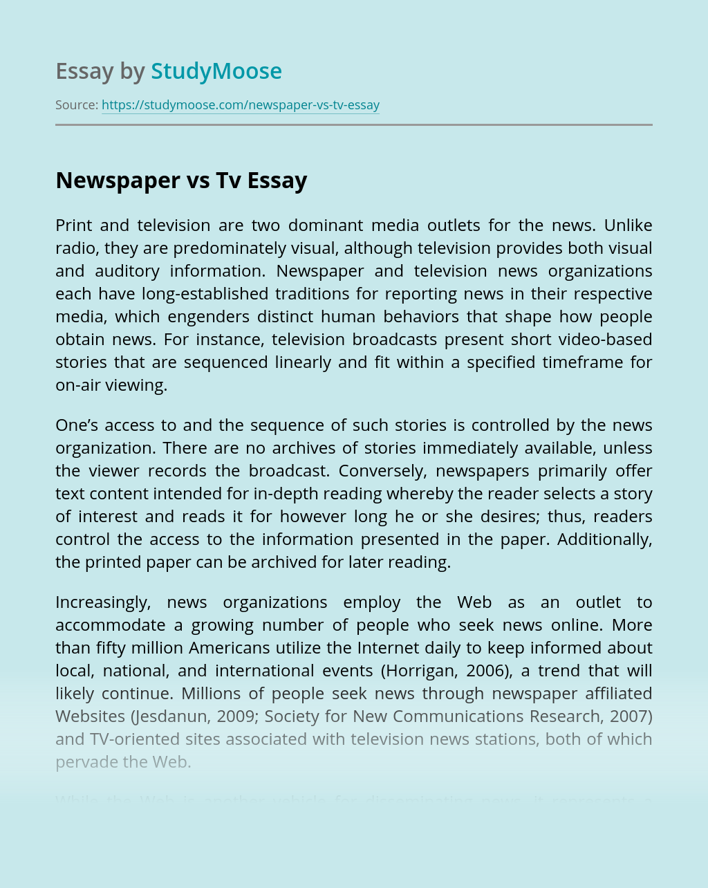 Newspaper vs Tv