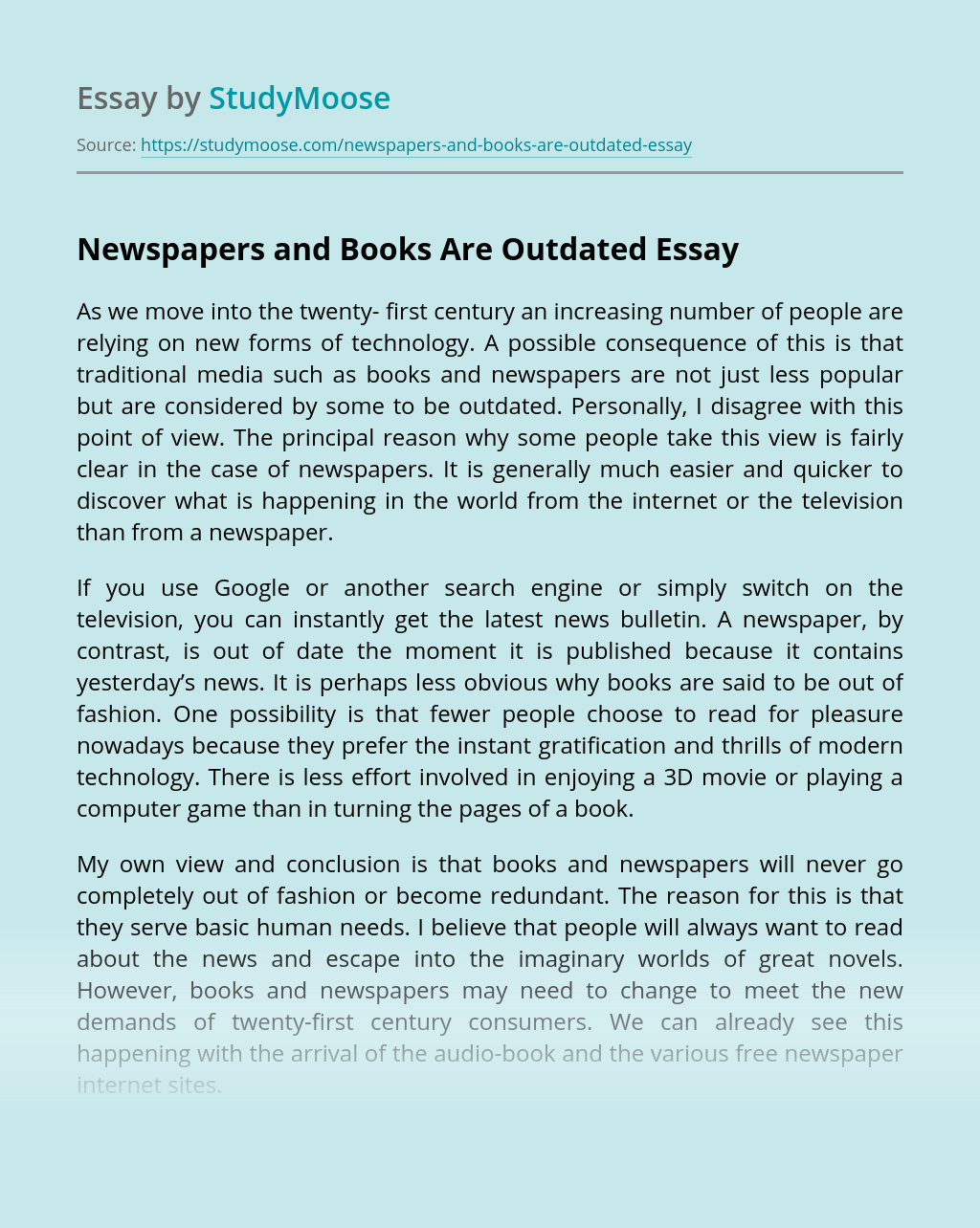 Newspapers and Books Are Outdated