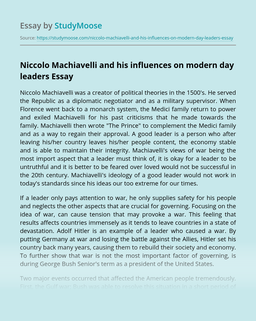 Niccolo Machiavelli and his influences on modern day leaders