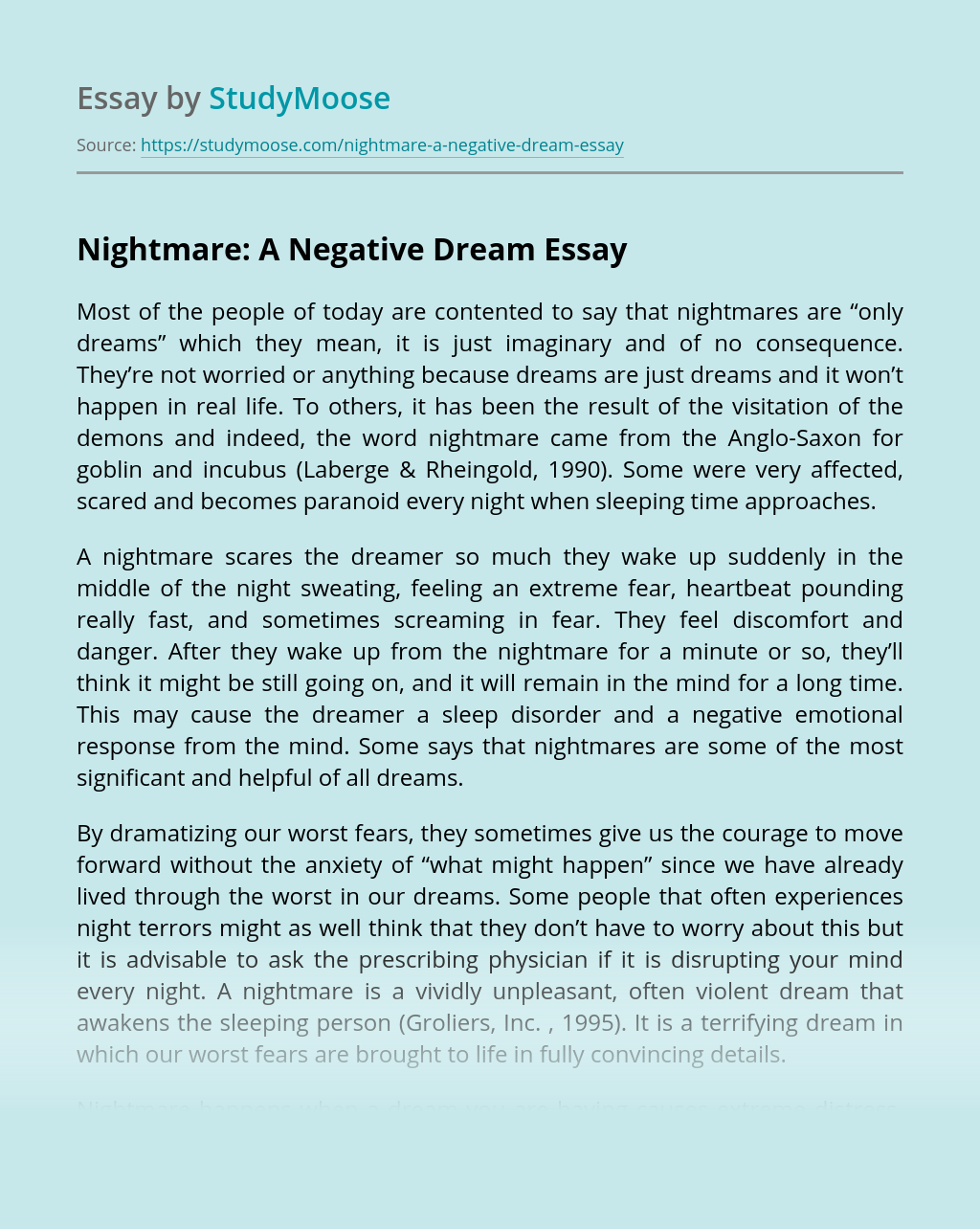 Nightmare: A Negative Dream