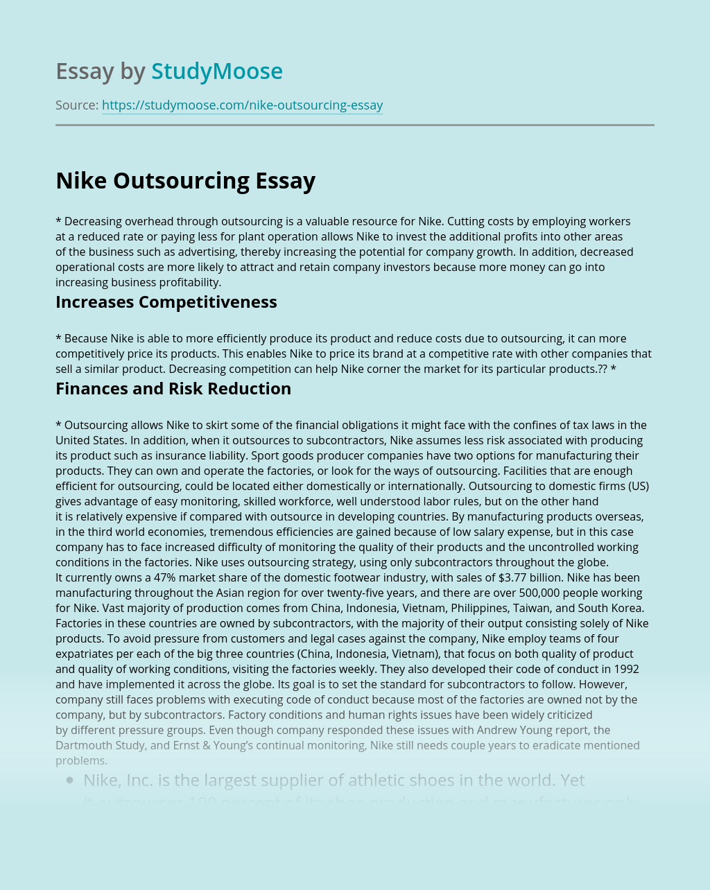 nike outsourcing