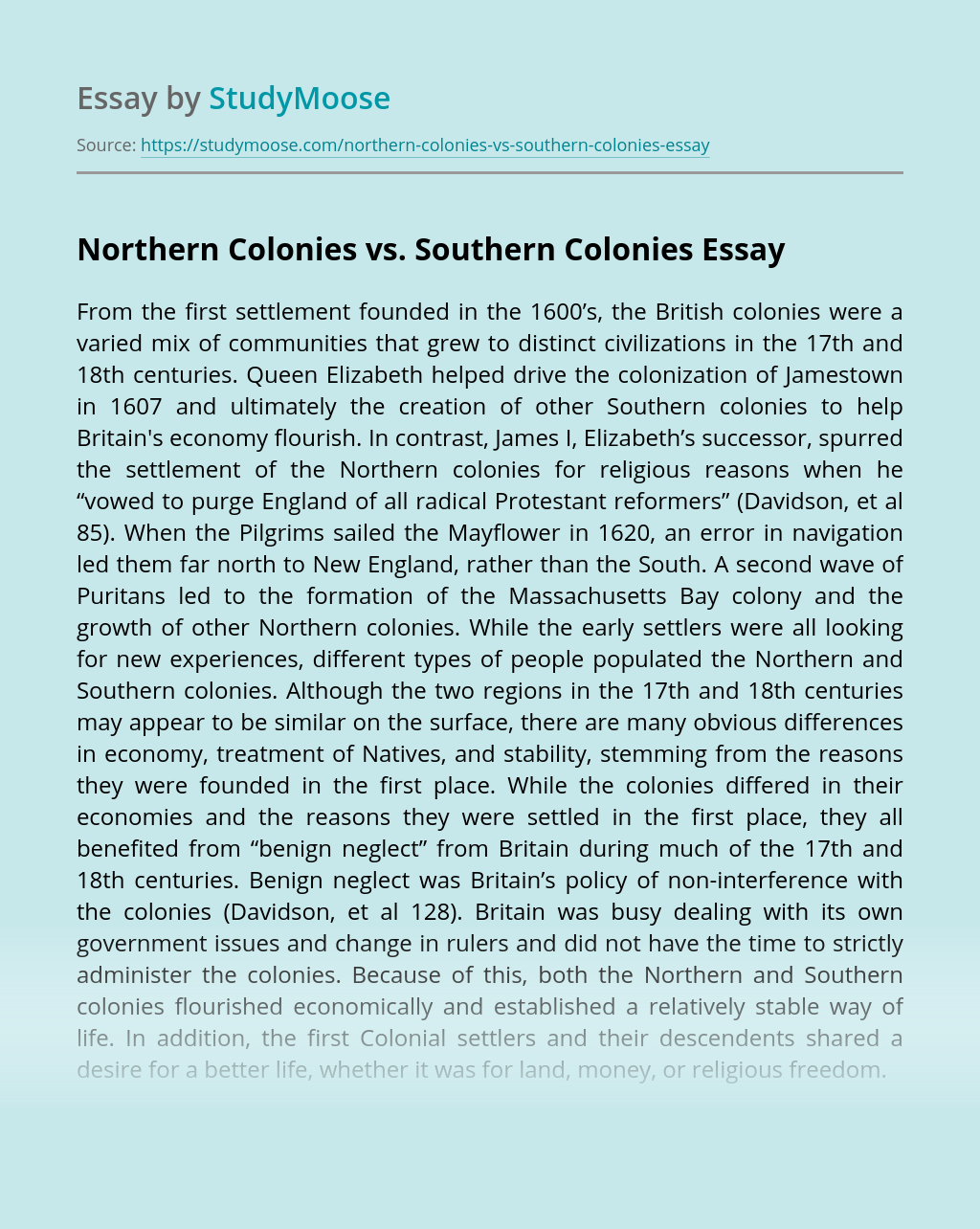 Northern Colonies vs. Southern Colonies