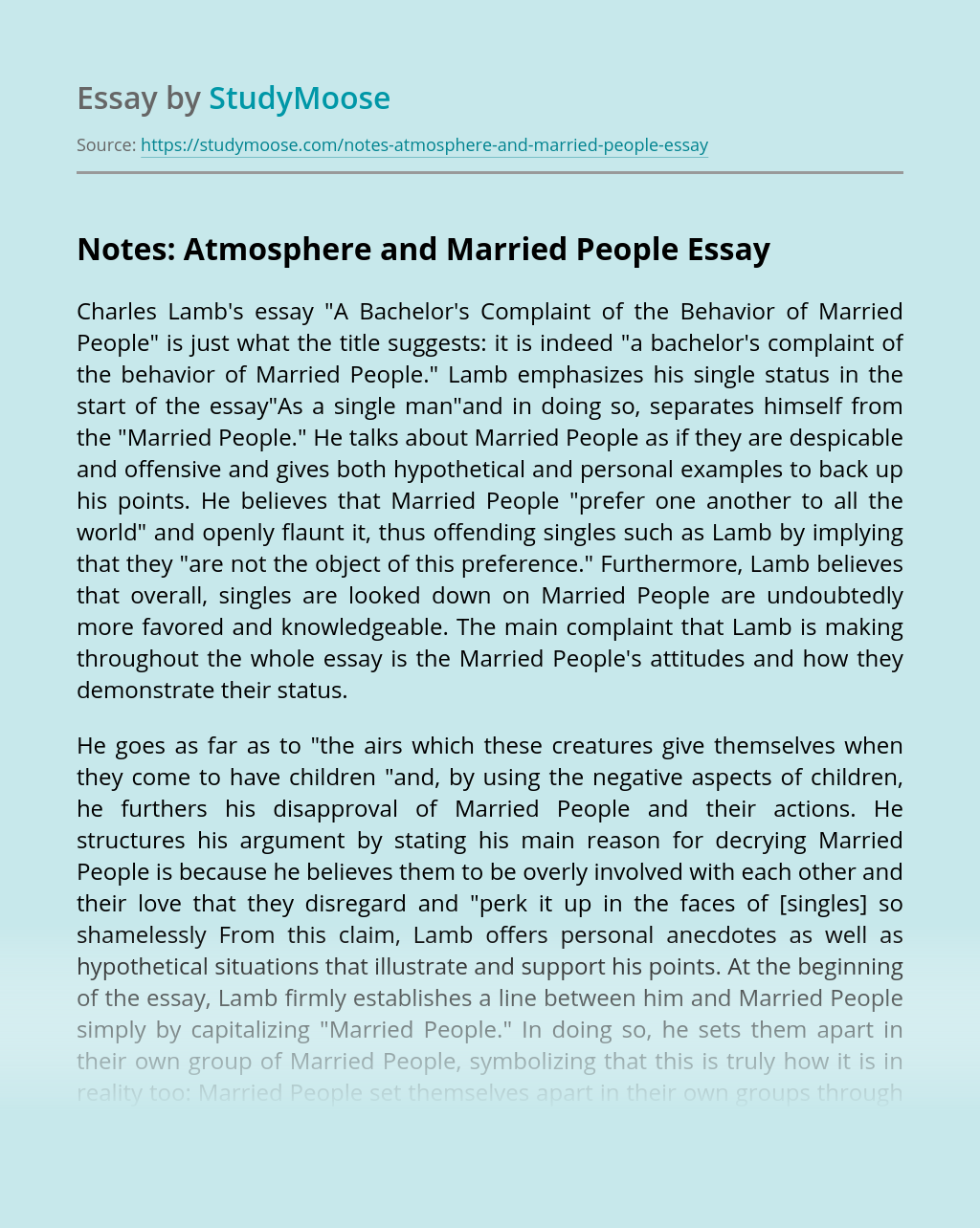 Notes: Atmosphere and Married People