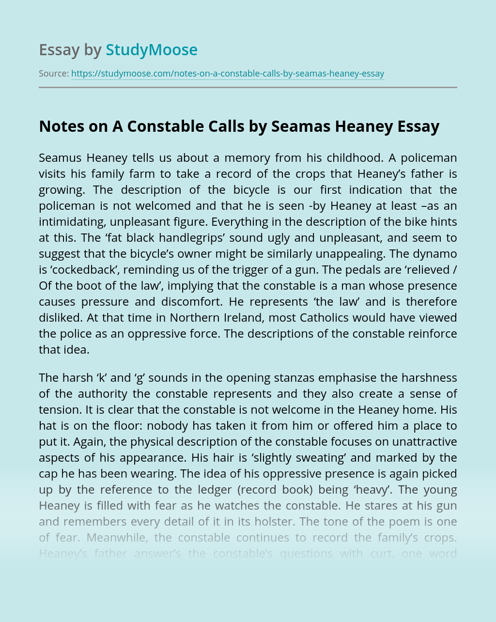 Notes on A Constable Calls by Seamas Heaney