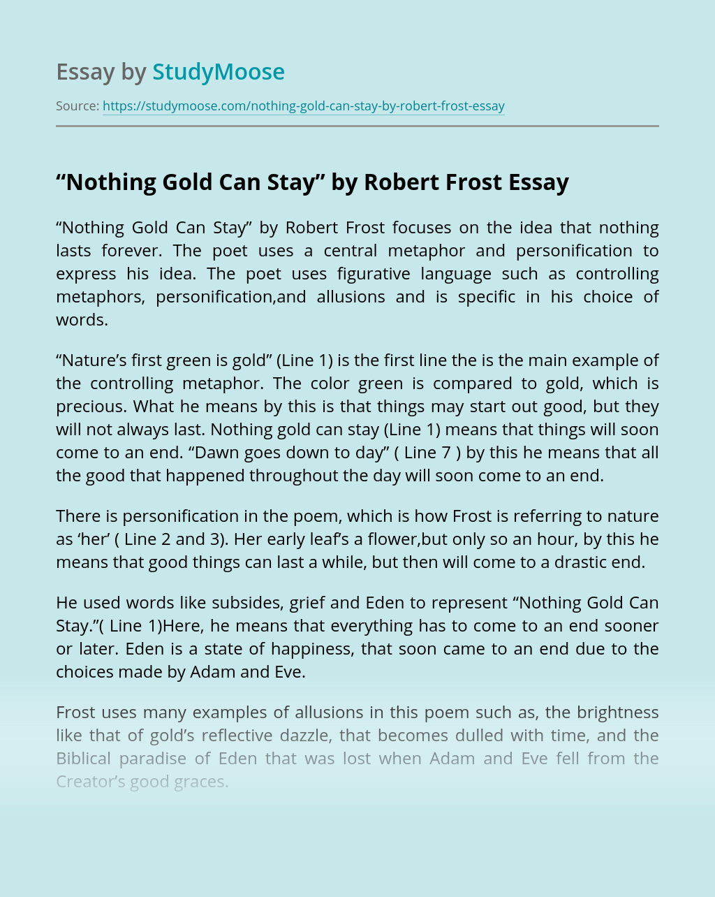 The Best Poem Choice Analysis Paraphrase Nothing Gold Can Stay Robert Frost