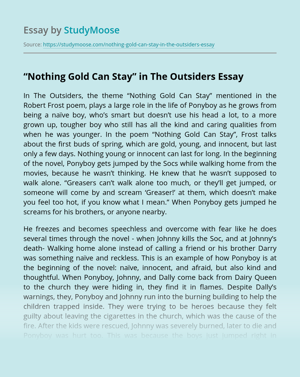 """""""Nothing Gold Can Stay"""" in The Outsiders"""