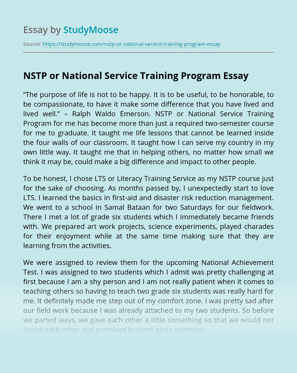 Essay about benefits of national service training programme