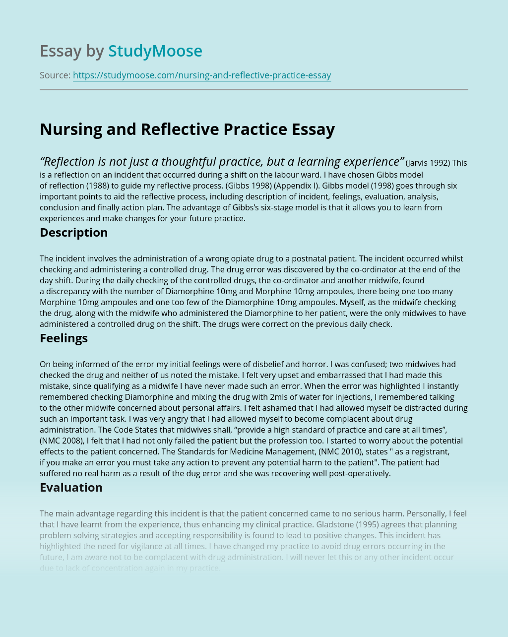 Nursing and Reflective Practice