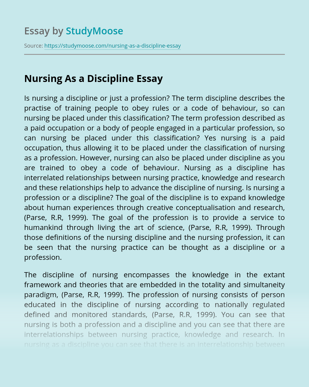 Nursing As a Discipline