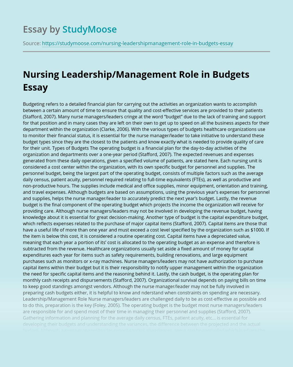 Nursing Leadership/Management Role in Budgets